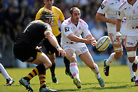 Julien Dupuy of Stade Francais passes close to the tryline during the first leg of the European Rugby Champions Cup play-off match between London Wasps and Stade Francais at Adams Park on Sunday 18th May 2014 (Photo by Rob Munro)