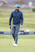 6th October 2017, Carnoustie Golf Links, Carnoustie, Scotland; Alfred Dunhill Links Championship, second round; Actor Jamie Dornan after missing a putt during the second round at the Alfred Dunhill Links Championship on the Championship Links, Carnoustie