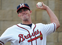 9 April 2008: LHP Dan Smith (52) of the Mississippi Braves, Class AA affiliate of the Atlanta Braves, in the season's home opener against the Mobile BayBears at Trustmark Park in Pearl, Miss. Photo by:  Tom Priddy/Four Seam Images