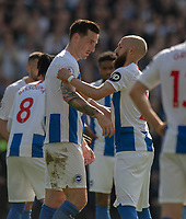 Brighton & Hove Albion's Bruno (left) hands over the captaincy to Brighton & Hove Albion's Lewis Dunk (right). This is Bruno last appearance as he retires <br /> <br /> Photographer David Horton/CameraSport<br /> <br /> The Premier League - Brighton and Hove Albion v Manchester City - Sunday 12th May 2019 - The Amex Stadium - Brighton<br /> <br /> World Copyright © 2019 CameraSport. All rights reserved. 43 Linden Ave. Countesthorpe. Leicester. England. LE8 5PG - Tel: +44 (0) 116 277 4147 - admin@camerasport.com - www.camerasport.com