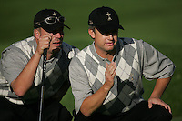 Straffin Co Kildare Ireland. K Club Ruder Cup...American Ryder cup team members Brett Wetterich and David Toms lining up his putt on  the green on the forth hole during the opening fourball session of the first day of the 2006 Ryder Cup, at the K Club in Straffan, Co Kildare, in the Republic of Ireland, 22 September 2006..Photo: Fran Caffrey/ Newsfile..