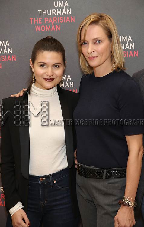 Phillipa Soo and Uma Thurman attend the Meet & Greet Photo Call for the cast of Broadways 'The Parisian Woman' at the New 42nd Street Studios on October 18, 2017 in New York City.