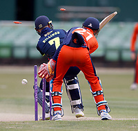 Sam Billings of Kent is bowled during the T20 friendly between Kent and the Netherlands at the St Lawrence Ground, Canterbury, on July 3, 2018
