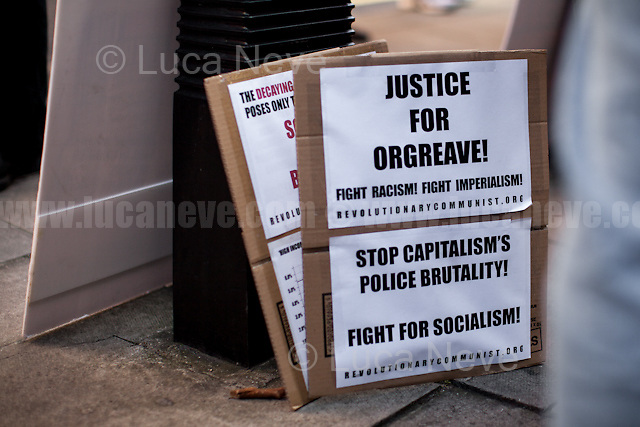 London, 13/03/2017. Today, Orgreave Truth and Justice Campaign held a demonstration outside the Home Office in London to protest against the &quot;Home Secretary's shocking decision in October not to grant an inquiry into 'The Battle of Orgreave'&quot;, when police and military police planned and carried out an attack to miners during their pickets on the 18th June 1984 (https://en.wikipedia.org/wiki/Battle_of_Orgreave - from Wikipedia.org) with the alleged collusion of Margaret Thatcher Conservative Government and the support of some media distorting their reports to break the miner's strike. During the rally, protesters handed out leaflets about boycotting the Sun newspaper due to its coverage of the Miners strike and of the Hillsborough disaster (https://en.wikipedia.org/wiki/Hillsborough_disaster - from Wikipedia.org). Protesters from Enterprise Not Guilty by Association joined the protest to support Orgreave Truth and Justice Campaign and to those imprisoned under the 'Joint Enterprise' law which has allowed to sentence people just because connected (sometimes insubstantially) with people who committed crimes (For more information please click here: http://www.jointenterprise.co/ ).<br />