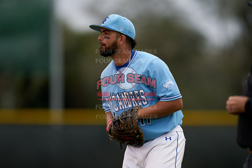 Indiana State Sycamores first baseman Miguel Rivera (17) during a game against the Dartmouth Big Green on February 21, 2020 at North Charlotte Regional Park in Port Charlotte, Florida.  Indiana State defeated Dartmouth 1-0.  (Mike Janes/Four Seam Images)
