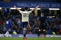 Keanan Bennetts celebrates Tottenham's 2-1 victory at the final whistle after scoring both goals during Chelsea Under-23 vs Tottenham Hotspur Under-23, Premier League 2 Football at Stamford Bridge on 13th April 2018