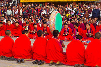 Monks at Shugdrel ceremony, Paro Teschu festival, Paro Dzong Monastery,  Paro Valley, Bhutan