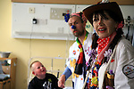 The clowns can act very well and their faces shw various expressions and emotions. Sheffield Children's Hospital.