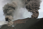 Ash clouds rising from vents along eruptive fissure of Fogo Volcano, Cape Verde