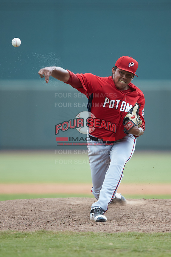 Potomac Nationals relief pitcher Steven Fuentes (31) delivers a pitch to the plate against the Winston-Salem Rayados at BB&T Ballpark on August 12, 2018 in Winston-Salem, North Carolina. The Rayados defeated the Nationals 6-3. (Brian Westerholt/Four Seam Images)