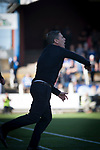Home manager Gary Naysmith gesticulates during the second-half at Palmerston Park, Dumfries as Queen of the South hosted Dundee United in a Scottish Championship fixture. The home has played at the same ground since its formation in 1919. Queens won the match 3-0 watched by a crowd of 1,531 spectators.