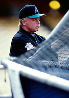 Arizona Diamondbacks Manager Buck Showalter participates in a Major League Baseball game at Dodger Stadium during the 1998 season in Los Angeles, California. (Larry Goren/Four Seam Images)