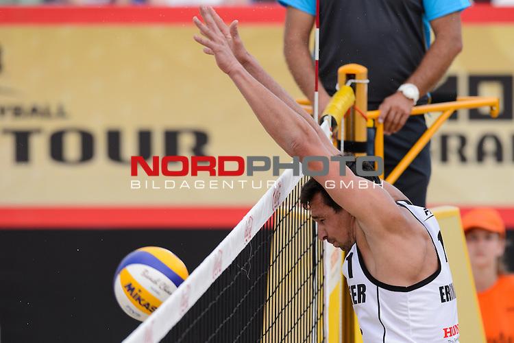 30.05.2015, Moskau, Vodny Stadion<br /> Moskau Grand Slam, Main Draw / Viertelfinale<br /> <br /> Block Jonathan Erdmann (#1 GER)<br /> <br />   Foto &copy; nordphoto / Kurth