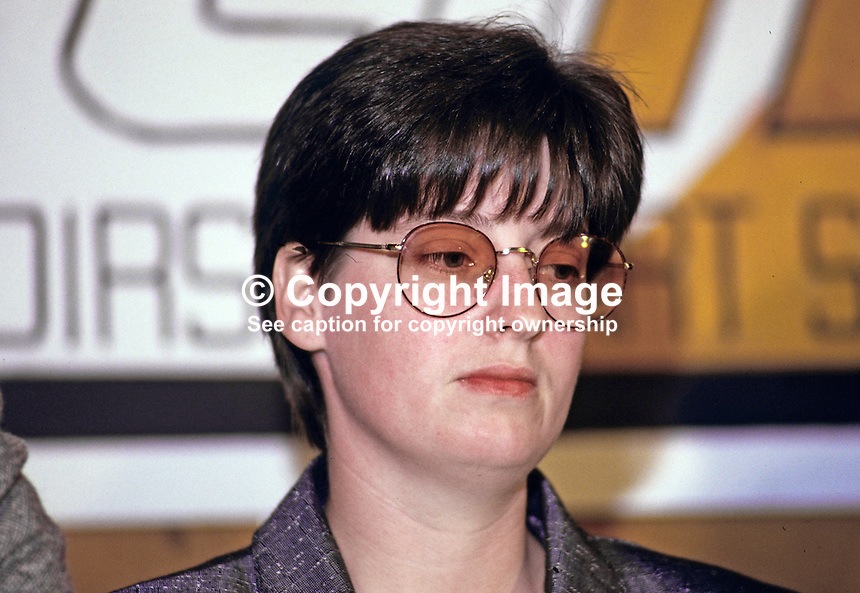 Geraldine Ritchie, prominent member, Provisional Sinn Fein, N Ireland, 19870602GR..Copyright Image from Victor Patterson, 54 Dorchester Park, Belfast, UK, BT9 6RJ..Tel: +44 28 9066 1296.Mob: +44 7802 353836.Voicemail +44 20 8816 7153.Skype: victorpattersonbelfast.Email: victorpatterson@me.com.Email: victorpatterson@ireland.com (back-up)..IMPORTANT: If you wish to use this image or any other of my images please go to www.victorpatterson.com and click on the Terms & Conditions. Then contact me by email or phone with the reference number(s) of the image(s) concerned.