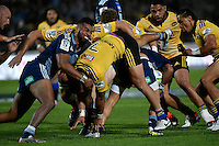 Ardie Savea ( Hurricanes ) and Lolagi Visinia ( Blues ) in action during the Super Rugby - Hurricanes v Blues at FMG Stadium, Palmerston North, New Zealand on Friday 13 March 2015. <br /> Photo by Masanori Udagawa. <br /> www.photowellington.photoshelter.com.