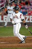 Chris Dominguez of the Salem-Keizer Volcanoes in the final game of the Northwest League championship game against the Tri-City Dust Devils at Volcanoes Stadium, Keizer, Oregon - 9/10/2009. The Volcanoes won the deciding game, 2-1, in 13 innings to win the series, 3 games to 1..Photo by:  Bill Mitchell/Four Seam Images..