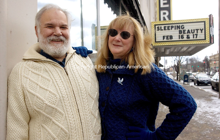 TORRINGTON, CT. 06 February 2013-020613SV05-Matthew Valenti and his wife, Barbara Valenti stand in front of the Warner Theatre in Torrington Wednesday. .Steven Valenti Republican-American