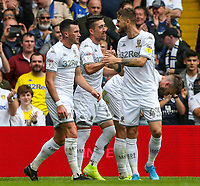 Leeds United's Pablo Hernandez celebrates scoring the opening goal with teammates<br /> <br /> Photographer Alex Dodd/CameraSport<br /> <br /> The EFL Sky Bet Championship - Leeds United v Nottingham Forest - Saturday 10th August 2019 - Elland Road - Leeds<br /> <br /> World Copyright © 2019 CameraSport. All rights reserved. 43 Linden Ave. Countesthorpe. Leicester. England. LE8 5PG - Tel: +44 (0) 116 277 4147 - admin@camerasport.com - www.camerasport.com