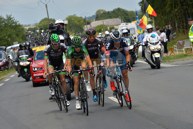 The breakaway group  Bartosz Huzarski (POL) Bora-Argon 18, Pierre-Luc Perichon (FRA) Bretagne-Seche, Sylvain Chavanel (FRA) IAM Cycling and Romain Sicard (FRA) Europcar during Stage 8 of the 2015 Tour de France running 181.5km from Rennes to Mur de Bretagne, France. 10th July 2015.<br /> Photo: ASO/B.Bade/Newsfile