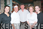 Ex Manchester United and Republic of Ireland star Kevin Moran was spotted dining out in Finnigan's restaurant, Denny St, Tralee on Saturday night and was pictured here with locals l-r: Jill Finnucane, Rory Duffin, Kevin Moran with Eileen and Amanda Nolan.