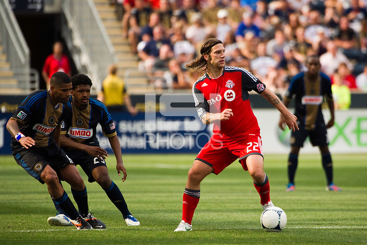 Torsten Frings (22) of Toronto FC. The Philadelphia Union defeated Toronto FC 3-0 during a Major League Soccer (MLS) match at PPL Park in Chester, PA, on July 8, 2012.