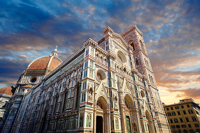 Facade of the the Gothic-Renaissance Duomo of Florence,  Basilica of Saint Mary of the Flower; Firenza ( Basilica di Santa Maria del Fiore ) built between 1293 & 1436. Italy
