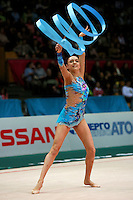"Evgenia Kanaeva of Russia waves with ribbon during seniors All-Around at 2007 World Cup Kiev, ""Deriugina Cup"" in Kiev, Ukraine on March 17, 2007."