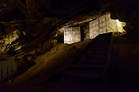 Cheese stored for maturation in Gough's Cave. Cheddar Gorge, Cheddar, UK, October 16, 2017. Spectacular Cheddar Gorge features the highest inland cliffs in the UK. The nearby village of Cheddar is also the birthplace of the eponymous cheese.