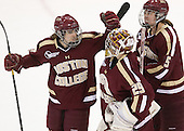 Kristina Brown (BC - 2), Corinne Boyles (BC - 29), Alex Carpenter (BC - 5) - The Boston College Eagles defeated the Harvard University Crimson 2-1 in the 2013 Beanpot opening round on Tuesday, February 5, 2013, at Matthews Arena in Boston, Massachusetts.