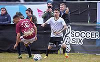 Dappy (Musician / Celebrity Big Brother) turns Scott Saunders (The Apprentice 2015) during the SOCCER SIX Celebrity Football Event at the Queen Elizabeth Olympic Park, London, England on 26 March 2016. Photo by Andy Rowland.