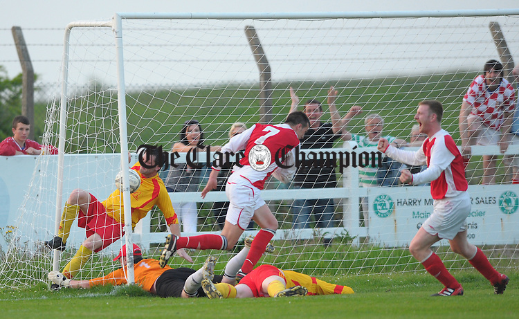 Newmarket score the winning goal during the Cup final at Doora. Photograph by John Kelly.