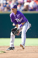 TCU's Pena, Jerome 2255.jpg against Florida State at the College World Series on June 23rd, 2010 at Rosenblatt Stadium in Omaha, Nebraska.  (Photo by Andrew Woolley / Four Seam Images)