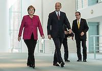 Berlin, Bundeskanzlerin Angela Merkel (CDU) und der italienische Ministerpräsident Enrico Letta am Dienstag (30.04.13) im Bundeskanzleramt in Berlin bei einer Pressebegegnung.