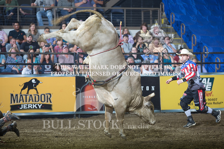 Garrett Ashley attempts to ride Triskele's Peacemaker ( Cornwell Bucking Bulls ) during the second round of the PBR Real Time Pain Relief Velocity Tour event in  Portland, ME - Photo by Andre Silva