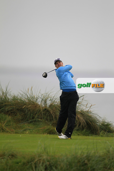 Simon Ward (Co. Louth) on the 4th tee during the South of Ireland Amateur Open Championship Semi-Finals at Lahinch Golf Club  31th July 2013 <br /> Picture:  Thos Caffrey / www.golffile.ie