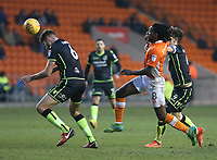 Blackpool's Sessi D'Almeida battles with Bristol Rovers' Tom Lockyer (right) and Ryan Sweeney (left) <br /> <br /> Photographer Stephen White/CameraSport<br /> <br /> The EFL Sky Bet League One - Blackpool v Bristol Rovers - Saturday 13th January 2018 - Bloomfield Road - Blackpool<br /> <br /> World Copyright &copy; 2018 CameraSport. All rights reserved. 43 Linden Ave. Countesthorpe. Leicester. England. LE8 5PG - Tel: +44 (0) 116 277 4147 - admin@camerasport.com - www.camerasport.com