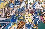 Detail, Gaudi-designed Guell Park, Barcelona, Catalonia, Spain