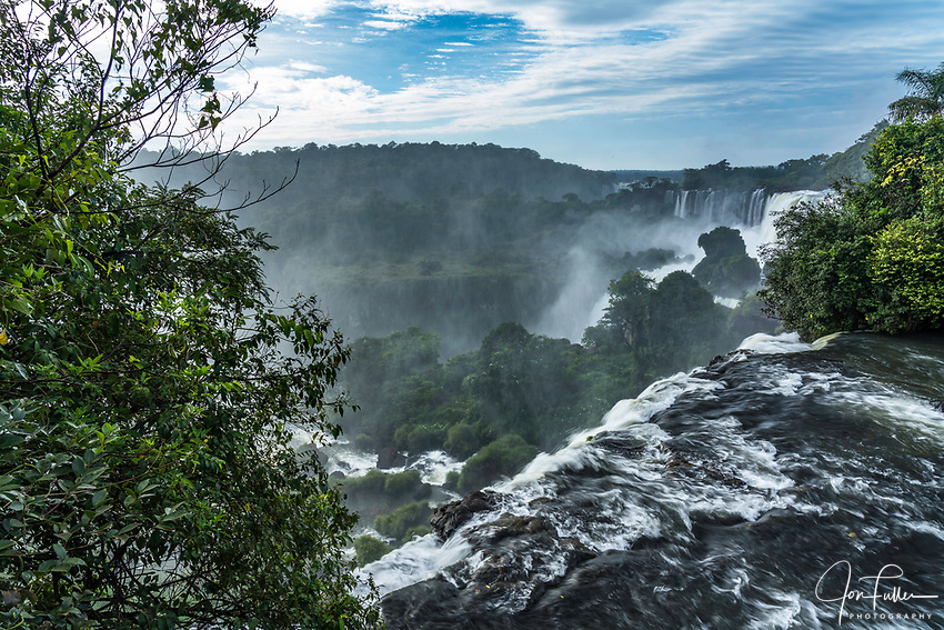 Iguazu Falls National Park in Argentina.  A UNESCO World Heritage Site.  Pictured is the precipice of Mbigua Falls.