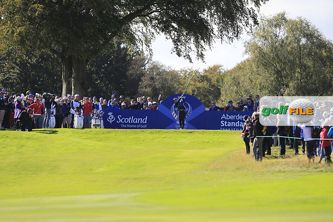 Suzann Pettersen Team Europe on the 7th tee during Day 1 Fourball at the Solheim Cup 2019, Gleneagles Golf CLub, Auchterarder, Perthshire, Scotland. 13/09/2019.<br /> Picture Thos Caffrey / Golffile.ie<br /> <br /> All photo usage must carry mandatory copyright credit (© Golffile   Thos Caffrey)