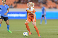 Houston, TX - Friday April 29, 2016: Denise O'Sullivan (13) of the Houston Dash looks to pass the ball against Sky Blue FC at BBVA Compass Stadium. The Houston Dash tied Sky Blue FC 0-0.