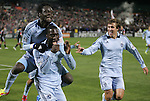 10 March 2012: Kansas City's C.J. Sapong (center) celebrates scoring the game's only goal with Kei Kamara (SLE) (above) and Matt Besler (right). Sporting Kansas City defeated DC United 1-0 at RFK Stadium in Washington, DC in a 2012 regular season Major League Soccer game.