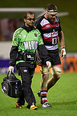 Dr Amit Kumar walks with Dan Hyatt as he leaves the field after being injured. Mitre 10 Cup rugby game between Counties Manukau Steelers and Tasman Mako, played at Navigation Homes Stadium Pukekohe on Friday September 6th 2019. Tasman won the game 36 - 0 after leading 24 - 0 at halftime.<br /> Photo by Richard Spranger.