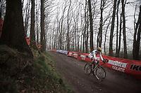 Wout Van Aert (BEL/Crelan-Vastgoedservice) in lonely pursuit behind race leader Mathieu Van der Poel<br /> <br /> Grand Prix Adrie van der Poel, Hoogerheide 2016<br /> UCI CX World Cup
