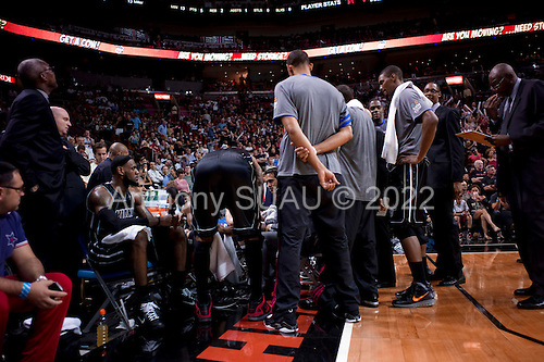 Miami, Florida<br /> January 29, 2012<br /> <br /> The Miami HEAT huddle during a break in the first half of the game against the Chicago BULLs. LeBron James sits on the far end as the team coach Erik Spoelstra addresses the players in the American Airlines Arena.