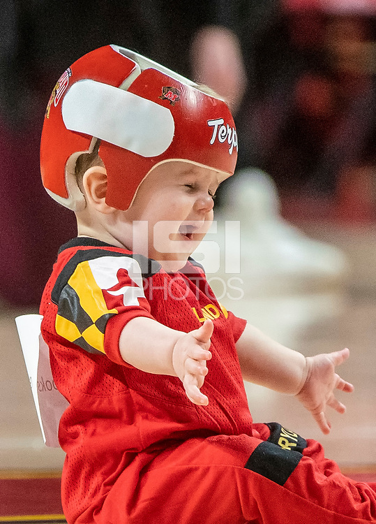 COLLEGE PARK, MD - FEBRUARY 9: Young Terps fan participates in a half-time tots race during a game between Rutgers and Maryland at Xfinity Center on February 9, 2020 in College Park, Maryland.