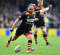 High Wycombe, England. Andy Goode of Wasps in action during the Aviva Premiership match between Wasps and Northampton Saints at Adams Park on September 14, 2014 in High Wycombe, England.