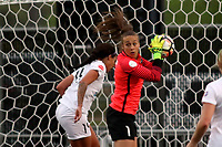 Piscataway, NJ - Sunday April 30, 2017: Sydney Leroux and Kailen Sheridan during a regular season National Women's Soccer League (NWSL) match between Sky Blue FC and FC Kansas City at Yurcak Field.