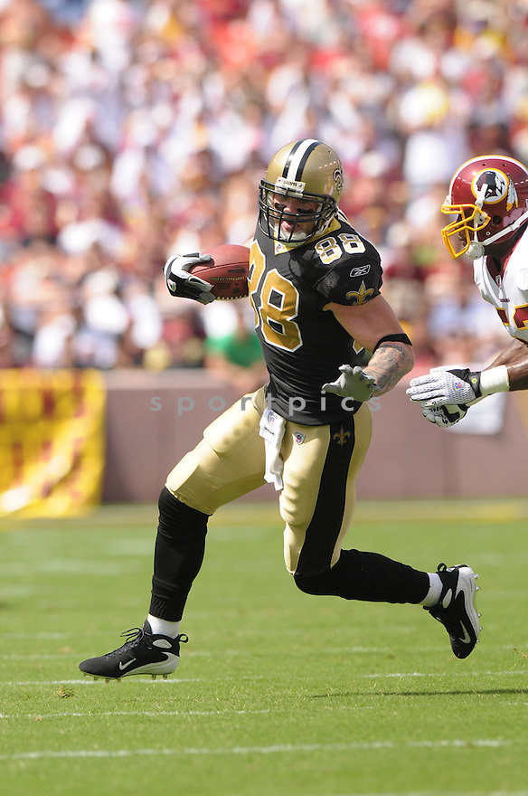 JEREMY SHOCKEY, of the New Orleans Saints, in action during the Saints game against the Washington Redskins on September 14, 2008 in Washington DC...Redskins win 29-24..SportPics