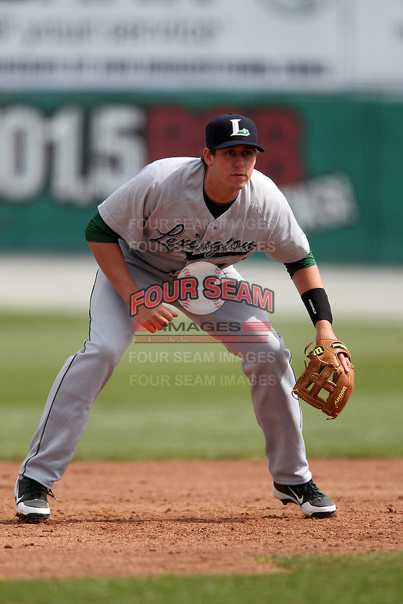 Lexington Legends third baseman Matt Duffy #13 during a game against the Hagerstown Suns at Municipal Park on April 11, 2012 in Hagerstown, Maryland.  Lexington defeated Hagerstown 3-0.  (Mike Janes/Four Seam Images)