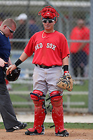 March 18, 2010:  Catcher Christian Vazquez of the Boston Red Sox organization during Spring Training at Ft.  Myers Training Complex in Fort Myers, FL.  Photo By Mike Janes/Four Seam Images